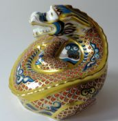 Royal Crown Derby paperweight DRAGON OF HAPPINESS: Gold stopper, certificate, first quality,