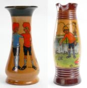 "Royal Doulton Lambeth Jug & vase: Both decorated with ""The Twins"", tallest height 20.5cm."