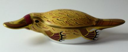 Royal Crown Derby paperweight DUCK BILLED PLATYPUS: Gold stopper, certificate, first quality,