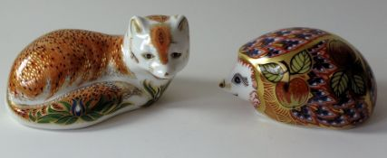 Two x Royal Crown Derby paperweights LEICESTERSHIRE FOX 1205/1500 & ORCHARD HEDGEHOG: Gold stoppers,