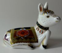 Royal Crown Derby paperweight HOLLY DONKEY FOAL: Gold stopper, certificate, first quality,