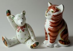 TWO x Royal Crown Derby paperweights GINGER KITTEN No.