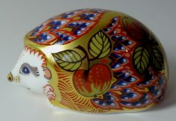Royal Crown Derby paperweight ORCHARD HEDGEHOG: Gold stopper, NO certificate, first quality,