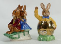 Royal Doulton Bunnykins prototype figures Easter Day and Sleigh Ride: Both in a different colourway