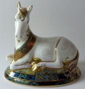 Royal Crown Derby paperweight UNICORN made for Goviers: Gold stopper, certificate, first quality,