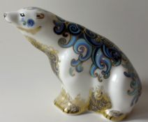 Royal Crown Derby paperweight POLAR BEAR for Connaught House 115/1500: Gold stopper, certificate,