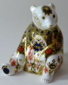 Royal Crown Derby paperweight IMARI HONEY BEAR (Goviers): Gold stopper, certificate, first quality,