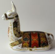 Royal Crown Derby paperweight Collectors Guild LLAMA: Gold stopper, NO certificate, first quality,