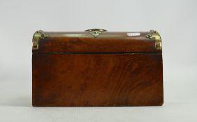 19th century Burr walnut Tea caddy with brass mounts & Wedgwood portrait plaque: length 25cm,