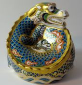 Royal Crown Derby paperweight DRAGON FORTUNE 283/1500: Gold stopper, certificate, first quality,