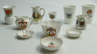 A collection of Shelley Crested ware to include: Horn, thistle vase, cream & sugar bowl, egg cup,