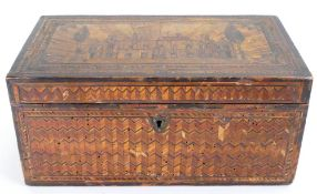 Early 19th century straw work tea caddy: Some extensive old woodworm damage to front & side panel.