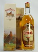 A bottle of Grants Whisky: 1 litre together with two bottles of Famous Grouse 70cl.