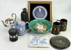 A collection of Wedgwood items: Comprising Hotel Award plaque, Sandemans Port decanter,