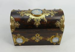 19th century Rosewood Tea caddy with brass mounts and 3 Wedgwood roundels: Lacking interior.
