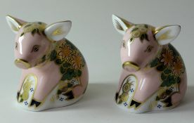 Two x Royal Crown Derby paperweights PICKWORTH PIGLET for Sinclairs: Gold stoppers, certificates,