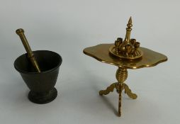 Quality vintage brass miniature Apprentice antique table: With decanter,