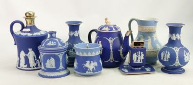 A collection of Wedgwood 19th century Jasperware to include: Dark blue teapot, vases,