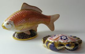 Two x Royal Crown Derby paperweights CRAB silver stopper & large GOLDFISH gold stopper: NO