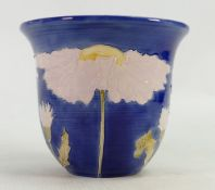 Lise B Moorcroft hand thrown vase: Blue with daisy - chip to rim. 13cm high. 1993.