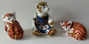 Three x Royal Crown Derby paperweights SLEEPING GINGER KITTEN,