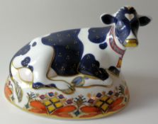 Royal Crown Derby paperweight FRIESIAN COW: Gold stopper, NO certificate, first quality,