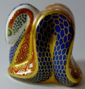 Royal Crown Derby paperweight SNAKE: Gold stopper, NO certificate, first quality, original box.