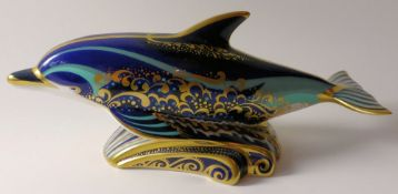 Royal Crown Derby paperweight LYME BAY DOLPHIN 841/1500: Gold stopper, certificate, first quality,