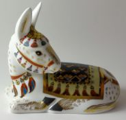 Royal Crown Derby paperweight DONKEY for Goviers: Gold stopper, NO certificate, first quality,
