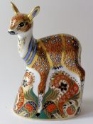 Royal Crown Derby paperweight FAWN for Sinclairs 160/1500: Gold stopper, NO certificate,