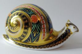 Royal Crown Derby paperweight GARDEN SNAIL for Sinclairs 257/4500: Gold stopper, certificate,