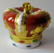 Royal Crown Derby paperweight Golden Jubilee QEII crown for Goviers 713/950: Gold stopper,
