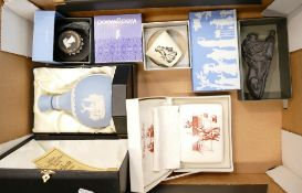 A collection of Wedgwood boxed items to include: Glenfiddich decanter, Basalt lion,