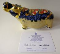 Royal Crown Derby paperweight HIPPOPOTAMUS: Gold stopper, certificate, first quality, original box.