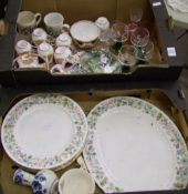 A mixed collection of items to include: Roslyn China Tea Set, Aynsley Wild Tudor Dinner Plates,