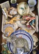 A mixed collection of items to include: series ware pin dish, Studio Szeiler display plaque, Royal