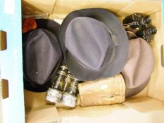 Three trilby hats: together with a pair of early military binoculars Taylor & Hobson etc
