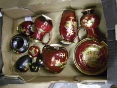 Carlton ware black lidded temple jar: small rouge royalle ginger jar and bowl together with Crown