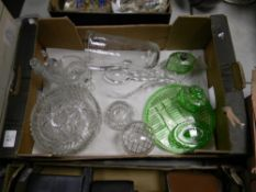 A mixed collection of cut and pressed glass items to include: bowls, vases lidded boxes etc