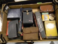 A mixed collection of items to include: Early game sets, domino set, Kodak sterling boxed camera,