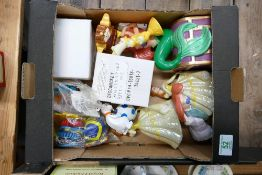 A collection of Disney figures to include: Belle, The Mermaid, Micky mouse, keyrings etc ( 1 tray)