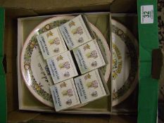 Wedgwood Boxed Peter Rabbit Thimbles: together with similar commemorative plates