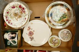 A mixed collection of items to include: Royal Doulton brambley hedge plates, lidded boxes together