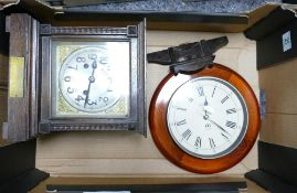 1920's Oak Cased Mantle clock: with presentation plaque to base: together with later Quartz Wall