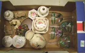 A mixed collection of items to include: Masons Ginger Jar, Aynsley, Glass ware etc