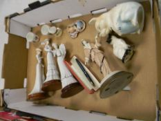 A mixed collection of items to include: ceramic lady figures, damaged Beswick cat, parker pen etc
