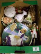 A mixed collection of items to include: Wedgwood Glass Paperweights, Royal Doulton Owl Decanter,