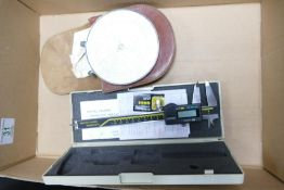 A mixed collection of items to include: Fowlers Long Scale Magnum Calculator & Kisbow Digital