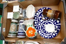A mixed collection of items to include: German beer steins, Royal Crown Derby undecorated items,