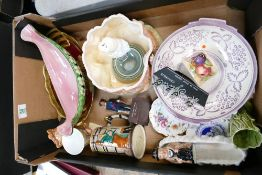 A mixed collection of items to include: Maling bowl, Aynsley Orchard gold vase, Royal Crown Derby